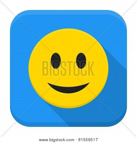 Smiling Yellow Face App Icon With Long Shadow