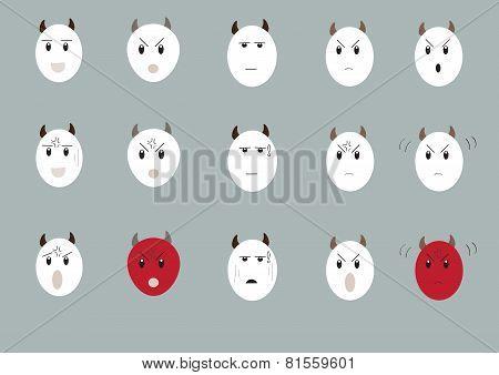 Cow Emotion Face Set