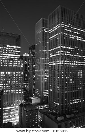 New York City skyscraper at night. bw