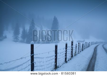Countryside Road In Foggy Alps