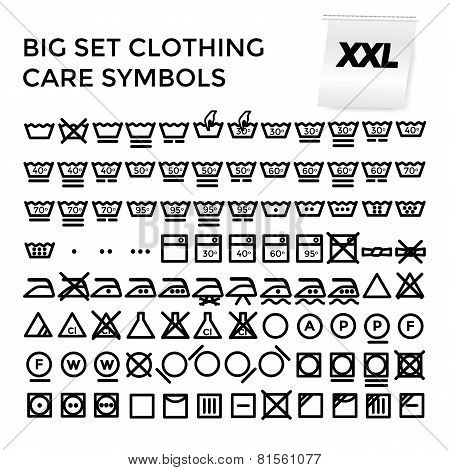 Vector Illustration Set Clothing Care Symbols.