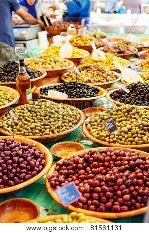 Different Marinated Olives On Provencal Street Market In Provence, France.