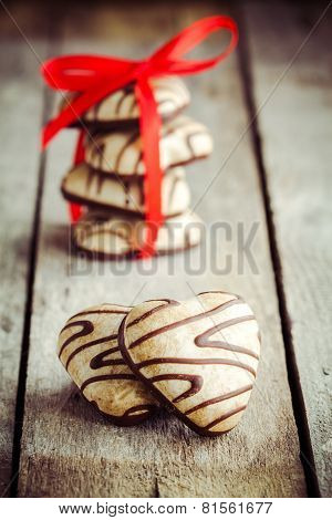 Gingerbread Heart With Red Ribbon