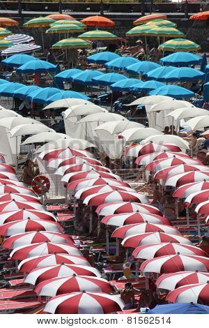 Colorful Beach Umbrellas On Amalfi Beach