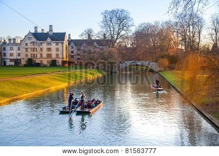 River Cam and tourist's boats, Cambridge