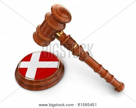 Wooden Mallet and Danish flag (clipping path included)