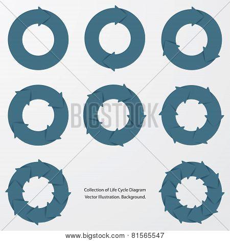 collection of blue color arrow circle flows.