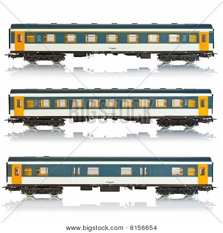Set of miniature passenger railroad cars
