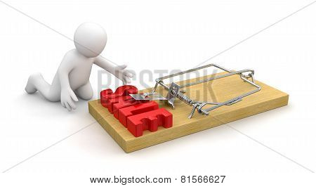 Man and Mousetrap with sale (clipping path included)