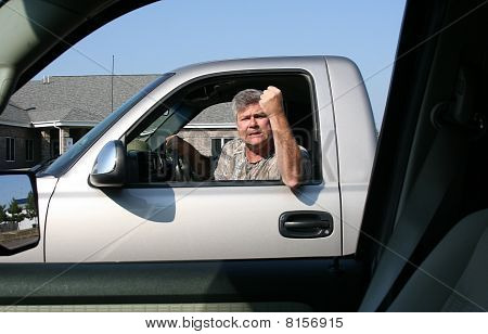 Man Showing Road Rage