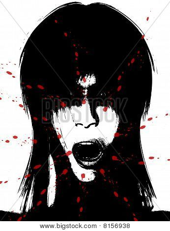 Scary And Bloody Creepy Women Face