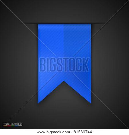 Blue bookmarks isolated on dark background