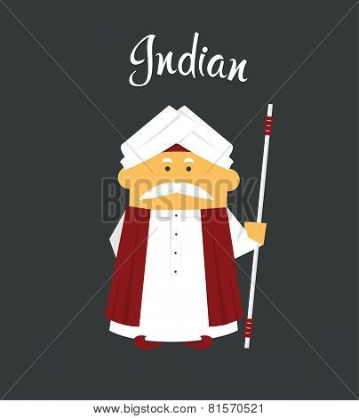 Indian man or cartoon charachter in turban with crook, stick