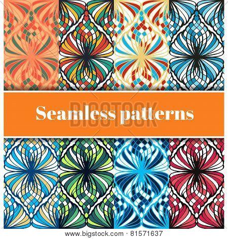 Set of varicoloured mosaic seamless patterns