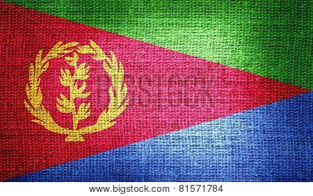 Eritrea flag on burlap fabric