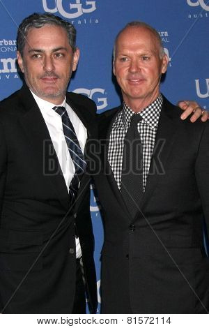 SANTA BARBARA - JAN 31:  John Lesher, Michael Keaton at the Santa Barbara International Film Festival - Modern Master at a Arlington Theater on January 31, 2015 in Santa Barbara, CA