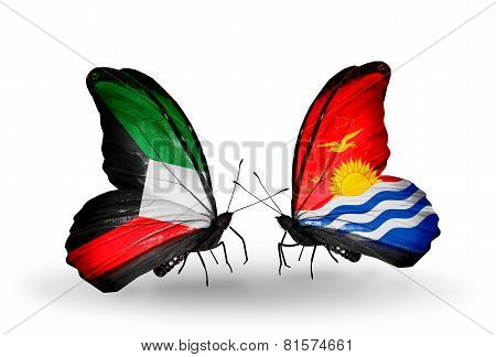 Two Butterflies With Flags On Wings As Symbol Of Relations Kuwait And Kiribati