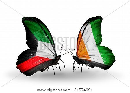 Two Butterflies With Flags On Wings As Symbol Of Relations Kuwait And Cote Divoire