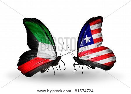 Two Butterflies With Flags On Wings As Symbol Of Relations Kuwait And Liberia