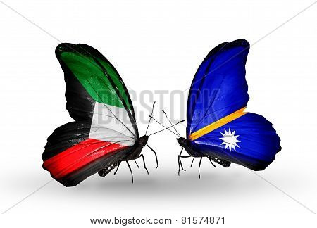 Two Butterflies With Flags On Wings As Symbol Of Relations Kuwait And Nauru