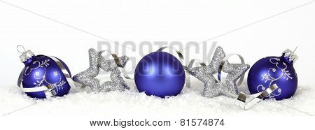 Christmas decoration from blue Balls and stars