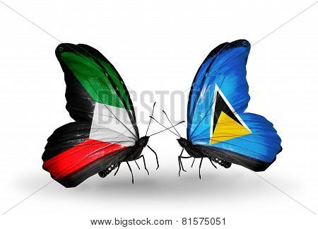 Two Butterflies With Flags On Wings As Symbol Of Relations Kuwait And Saint Lucia