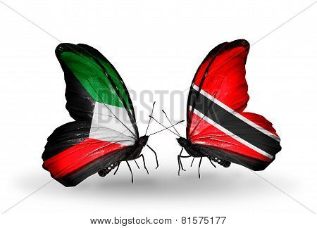 Two Butterflies With Flags On Wings As Symbol Of Relations Kuwait And Trinidad And Tobago