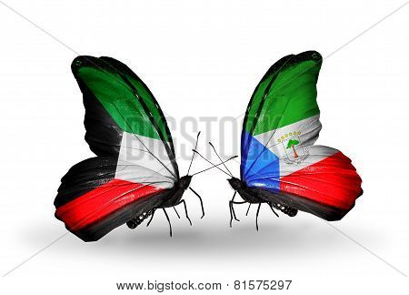 Two Butterflies With Flags On Wings As Symbol Of Relations Kuwait And Equatorial Guinea