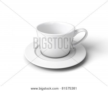 White Cup Of Coffee On A Saucer On A White Background