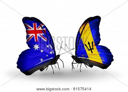 Two Butterflies With Flags On Wings As Symbol Of Relations Australia And Barbados