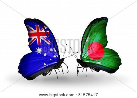 Two Butterflies With Flags On Wings As Symbol Of Relations Australia And Bangladesh