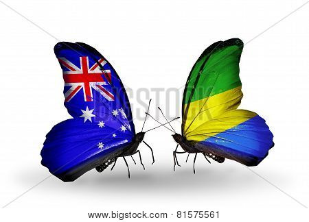 Two Butterflies With Flags On Wings As Symbol Of Relations Australia And Gabon