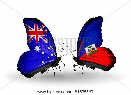 Two Butterflies With Flags On Wings As Symbol Of Relations Australia And Haiti
