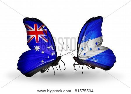 Two Butterflies With Flags On Wings As Symbol Of Relations Australia And Honduras