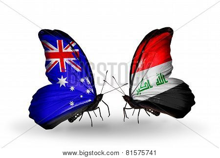 Two Butterflies With Flags On Wings As Symbol Of Relations Australia And Iraq
