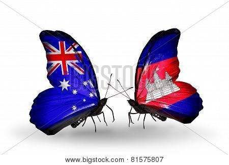 Two Butterflies With Flags On Wings As Symbol Of Relations Australia And Cambodia