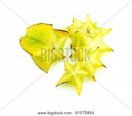 Beautiful Setup Of Ripe Vibrant Starfruit Slices Isolated On White