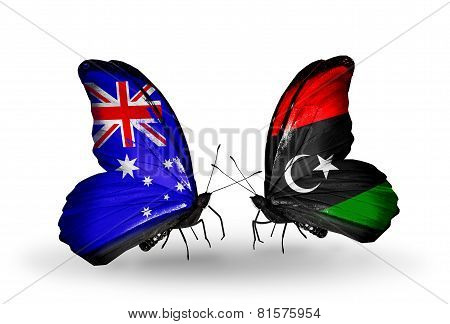 Two Butterflies With Flags On Wings As Symbol Of Relations Australia And Libya
