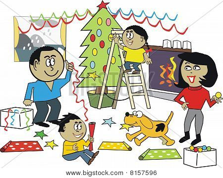 African family Christmas cartoon