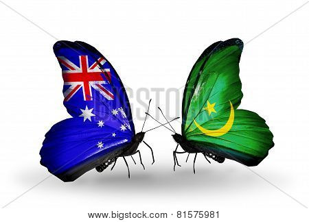 Two Butterflies With Flags On Wings As Symbol Of Relations Australia And Mauritania