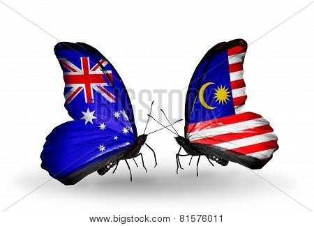 Two Butterflies With Flags On Wings As Symbol Of Relations Australia And Malaysia