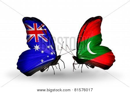 Two Butterflies With Flags On Wings As Symbol Of Relations Australia And Maldives