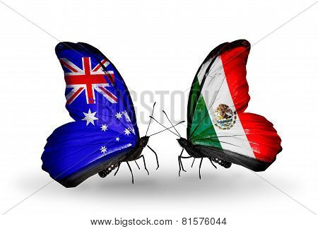 Two Butterflies With Flags On Wings As Symbol Of Relations Australia And Mexico