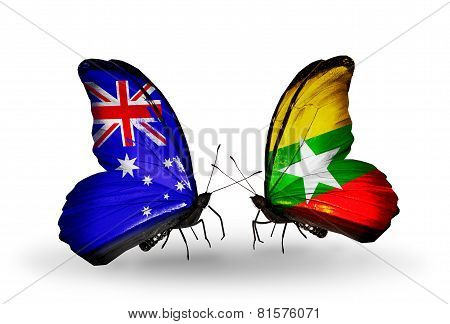 Two Butterflies With Flags On Wings As Symbol Of Relations Australia And Myanmar