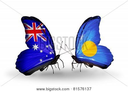 Two Butterflies With Flags On Wings As Symbol Of Relations Australia And Palau