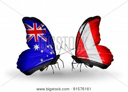 Two Butterflies With Flags On Wings As Symbol Of Relations Australia And Peru