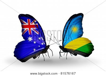 Two Butterflies With Flags On Wings As Symbol Of Relations Australia And Rwanda