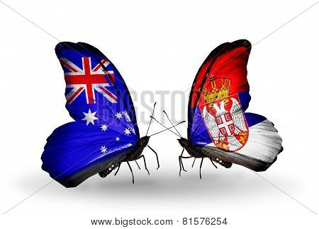Two Butterflies With Flags On Wings As Symbol Of Relations Australia And Serbia