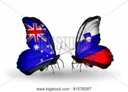 Two Butterflies With Flags On Wings As Symbol Of Relations Australia And Slovenia