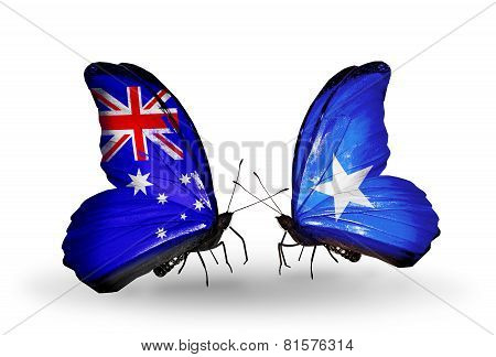 Two Butterflies With Flags On Wings As Symbol Of Relations Australia And Somalia